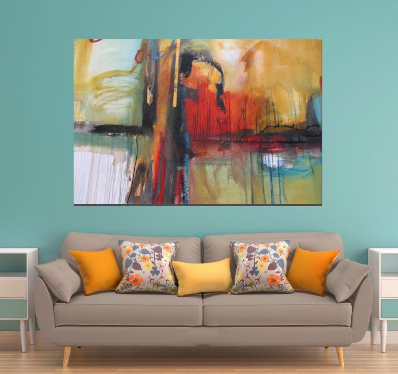 Quadros abstratos para sala de estar canvas r 96 00 em for Sala de estar quadro