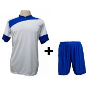 Uniforme Esportivo - Jogo de Camisa modelo Sporting 14 pe�as Branco/Royal + Cal��o Royal - Frete Gr�tis Brasil + Brindes