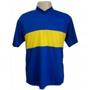 Uniforme Esportivo - Jogo de Camisa modelo Boca Juniors com 14 pe�as Royal/Amarelo + 1 Camisa de Goleiro - Frete Gr�tis Brasil + Brindes