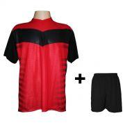 Fardamento Completo modelo Dubai Preto/Vermelho 12+1 (12 camisas + 12 cal��es + 13 pares de mei�es + 1 conjunto de goleiro) - Frete Gr�tis Brasil + Brindes