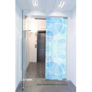 017 - Adesivo Jateado impresso para vidro Bluelos 220x90cm