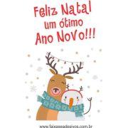 1208 - Adesivo Rena de Natal com Boneco de Neve 120x80cm