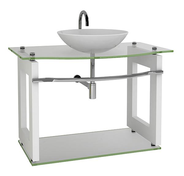 Móvel 5  Gabinete de Vidro com MDF para Banheiro  Armário Carolina -> Gabinete De Banheiro Tampo De Vidro