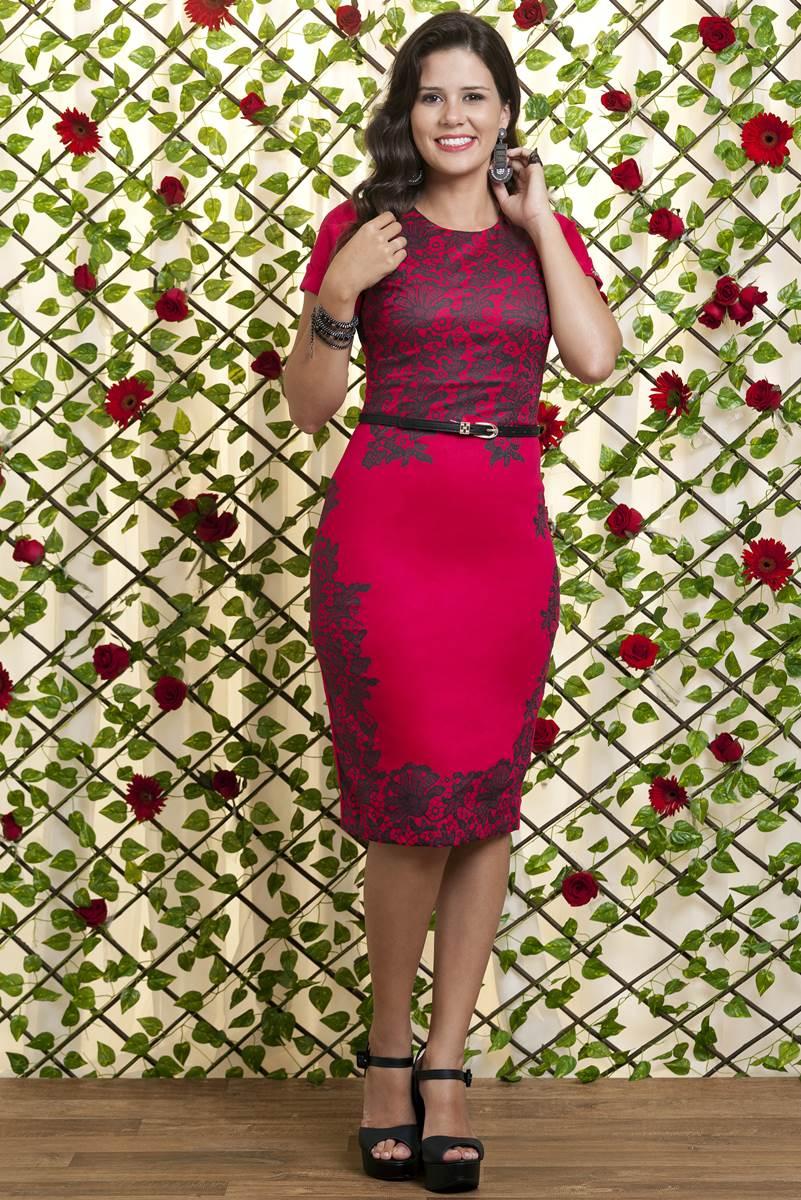 Vestido Bella Heran�a Rosa Vermelha 6221